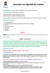 Accorder les adjectifs de couleur – CM2 – Fiche de préparation