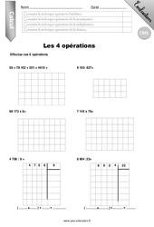 4 opérations – Evaluation – Bilan – CM1