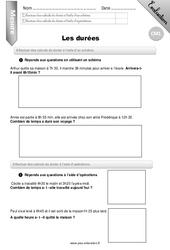 Durées – Evaluation – Bilan – CM1