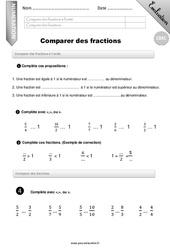 Comparer des fractions – Evaluation – Bilan – CM1