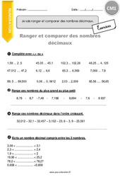 Ranger et comparer des nombres décimaux - Exercices avec correction - CM1