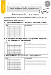Problèmes de contenance - CM1 - Exercices à imprimer