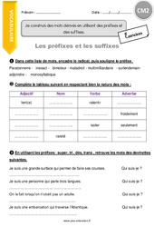 Mots dérivés en utilisant des préfixes et des suffixes – CM2 – Exercices à imprimer