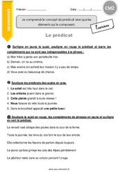Prédicat – CM2 – Exercices avec correction
