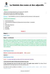 Le féminin des noms et des adjectifs – CM2 – Fiche de préparation