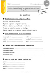 Préfixe – CE2 – Exercices à imprimer