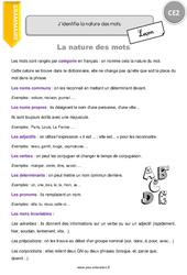 Nature des mots – CE2 – Leçon