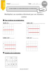 Multiplier un nombre décimal par un nombre entier – CM2 – Exercices avec correction