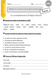 Complément d'objet direct - CM1 - Exercices à imprimer