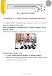 Champ lexical – CM1 – Leçon