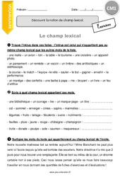Champ lexical – CM1 – Exercices à imprimer