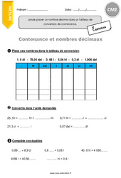 Contenance et nombres décimaux - CM2 - Exercices à imprimer