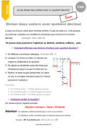 Diviser deux entiers avec quotient décimal – CM2 – Leçon