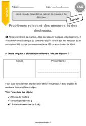 Problèmes relevant des mesures et des décimaux - CM2 - Exercices avec correction