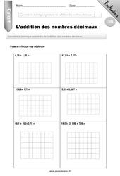 Addition des nombres décimaux – CM1 – Evaluation – Bilan
