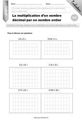 La multiplication d'un nombre décimal par un nombre entier – CM1 – Evaluation – Bilan