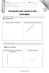 Construire des carrés et des rectangles – CM1 – Evaluation – Bilan