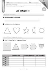 Polygones – CM1 – Evaluation – Bilan