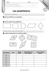 Reconnaitre les quadrilatères – CM1 – Evaluation – Bilan