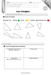 Triangles – CM1 – Evaluation – Bilan