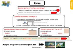 L'aire – CM1 – Evaluation – Bilan