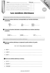 Nombres décimaux – CM1 – Evaluation – Bilan