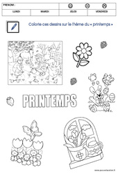 Coloriage sur le thème du printemps  – PS – Petite section