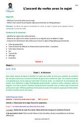 Accord du verbe avec le sujet – CM2 – Fiche de préparation