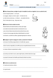 Accord du verbe avec le sujet – CM2 – Exercices avec correction