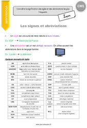 Signes et abréviations - Leçon - CM1