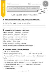 Signes et abréviations – Exercices avec correction – CM1