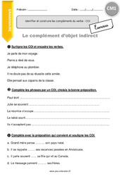 Complément d'objet indirect - Exercices à imprimer - CM1