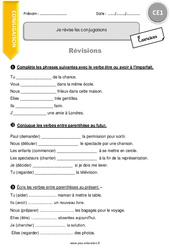 Révisons les conjugaisons - CE1 - Exercices avec correction