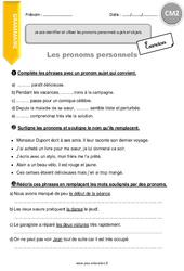 Pronoms personnels – Exercices avec correction – CM2