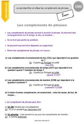 Compléments de phrases – Leçon – CM2