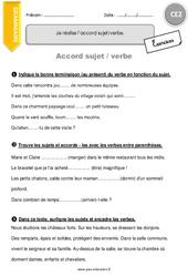 Accord sujet verbe - Exercices à imprimer - CE2