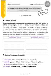 Champ lexical et vocabulaire de la peinture - CM2 - Exercices à imprimer