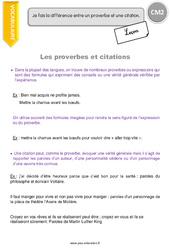 Proverbes et citations - CM2 - Leçon