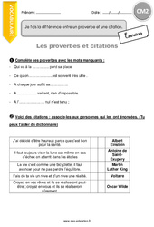 Proverbes et citations - CM2 - Exercices avec correction