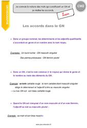 Accords dans le GN – Groupe nominal – CM2 – Leçon