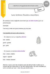 Lettres finales muettes – Leçon – CE2