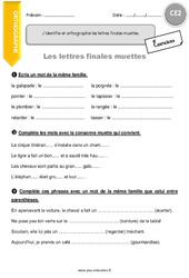 Lettres finales muettes – Exercices à imprimer – CE2