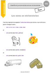 Noms en -oin, -ion, -ein, -ien - CE1 - Leçon