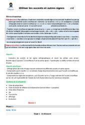 Utiliser les accents et autres signes – CM2 – Fiche de préparation
