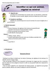 Animal, végétal ou minéral - CE1 - Fiche de préparation