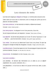 Classes de mots – CE1 – Leçon