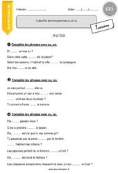 Homophones -ou et -où – CE1 – Exercices à imprimer