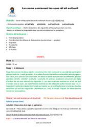 Mots contenant les sons -ai -eil -euil -ouil - CM1 - Fiche de préparation