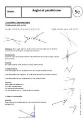 Angles – Parallélisme – 5ème – Cours