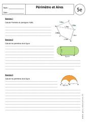 Périmètres - Aires - Calculs - 5ème - Exercices corrigés